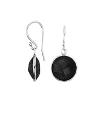 Black Onyx Round Gem Drop Earrings