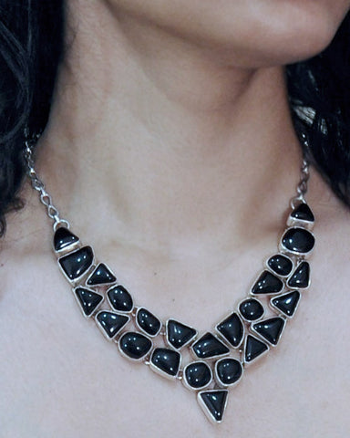 Black Onyx Statement Necklace in Sterling Silver