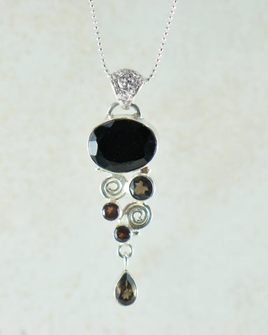 Black Onyx Multi Gemstone Pendant Necklace in Sterling Silver