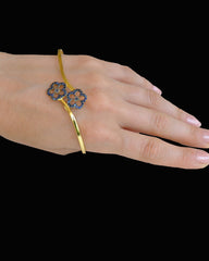 Diamond and Blue Sapphire Palm Cuff Hand Bracelet