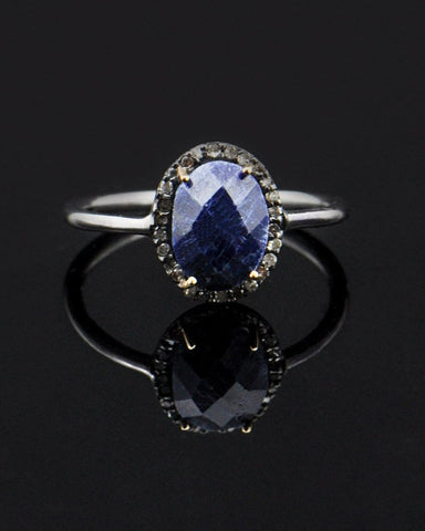 Sapphire and Rose Cut Diamonds Ring in Sterling Silver