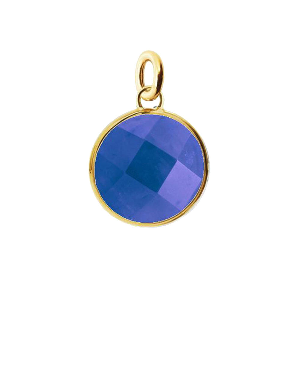 Blue Sapphire Round Disk Charm in Sterling Silver