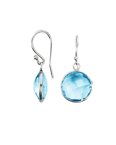 Blue Topaz Round Gem Drop Earrings