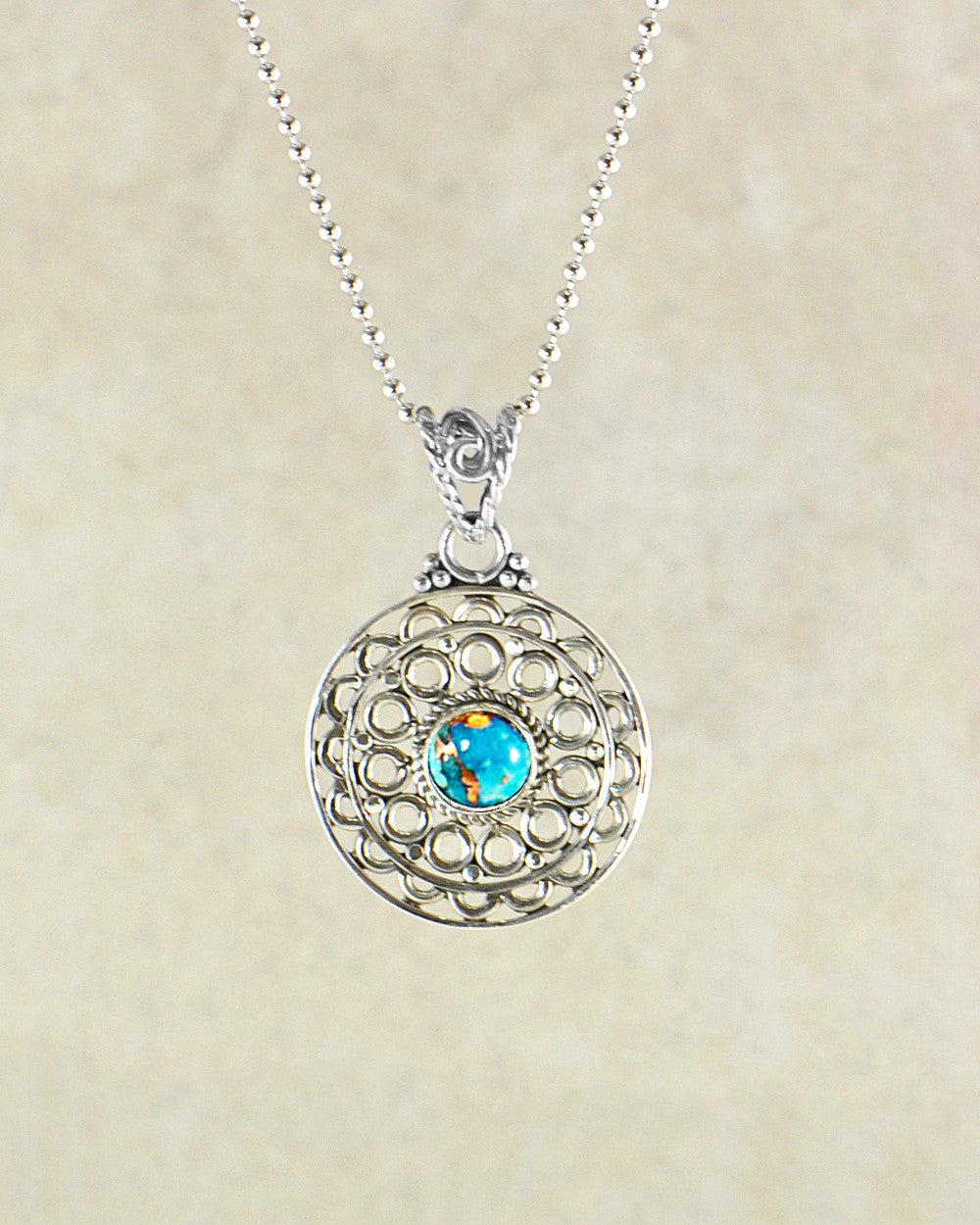 Mandala Pendant Necklace in Sterling Silver - Sivalya