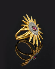 Bohemian Flower Garnet and Crystal Ring