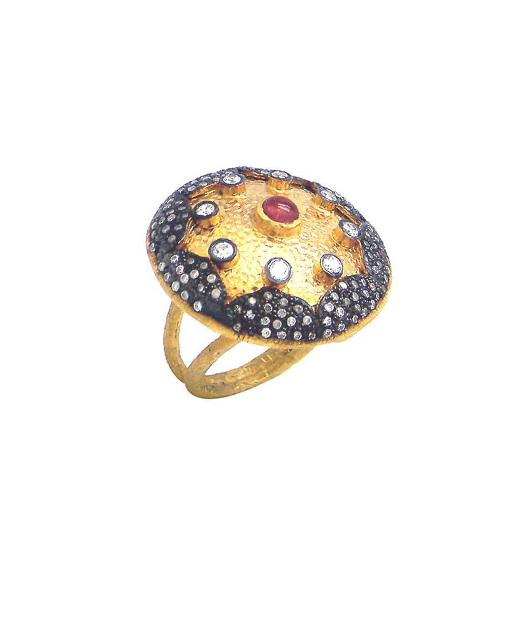 Mid Century Raised Dome Ring in Two Tone