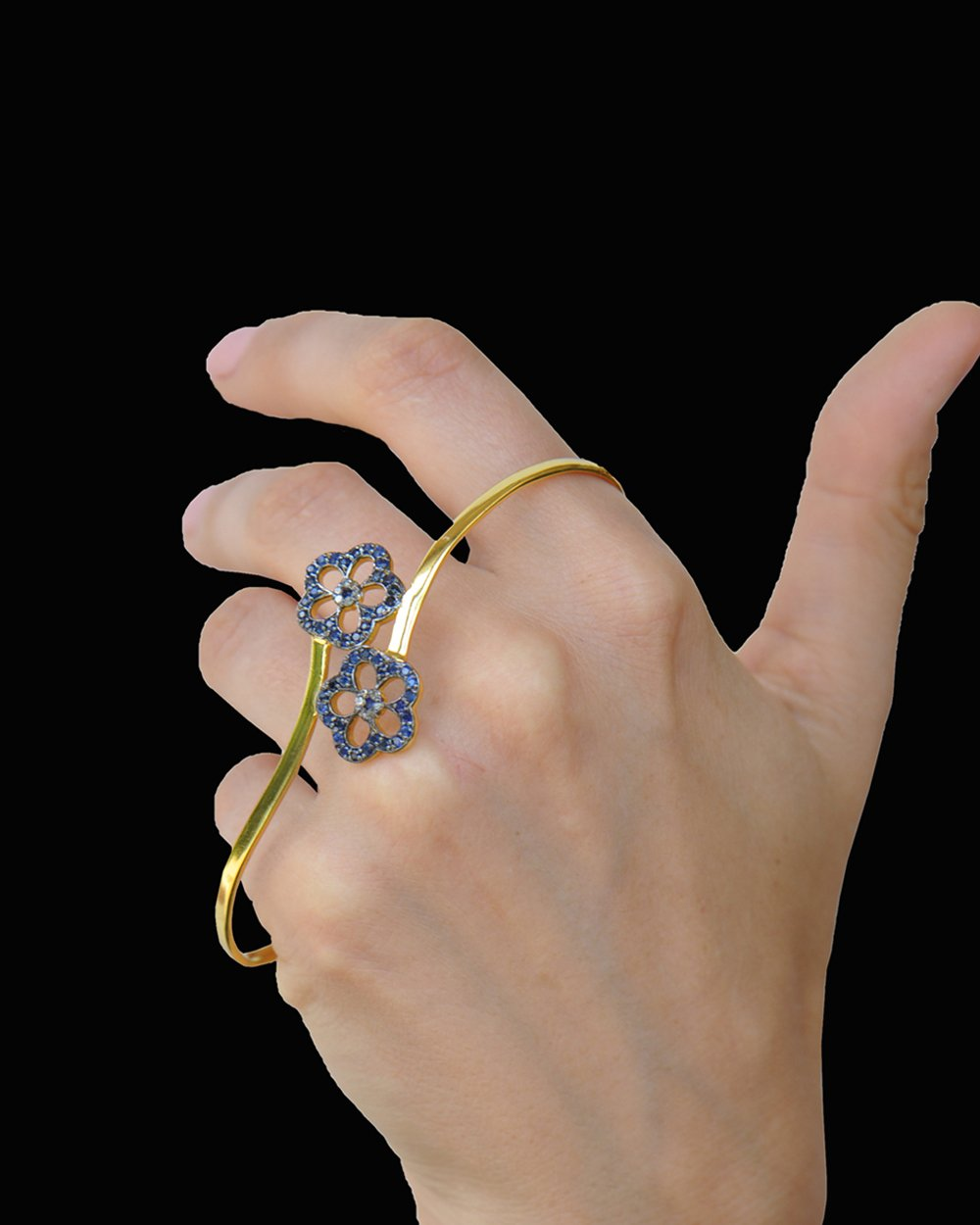 Hand Palm Bracelet with Diamonds and Blue Sapphire Flowers