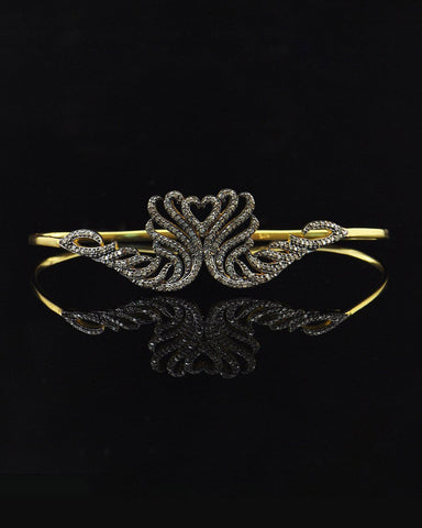 2.25 Carat Natural Diamonds Enamored Heart Palm Bracelet