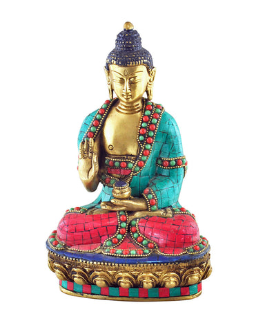 Buddha Blessings Statue with Turquoise & Coral Mosaic Detailing