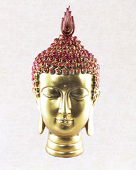 Buddha Head Wooden Statue Red and Gold