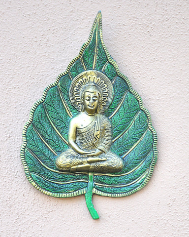 Green and Gold Bodhi Leaf Buddha Wall Art - Sivalya