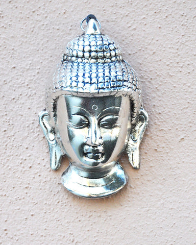 Meditating Buddha Head Silver Wall Art - Sivalya