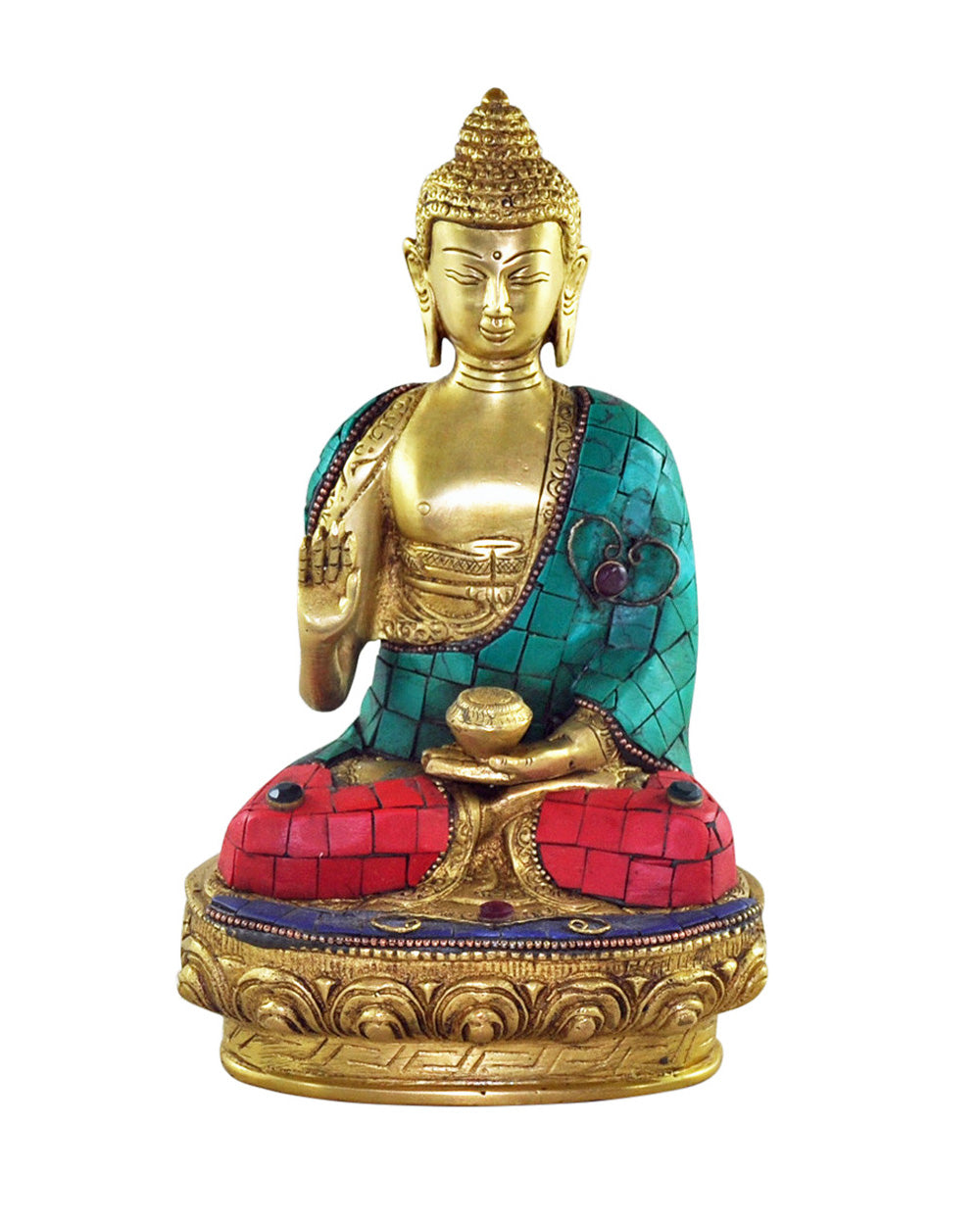 Medicine Buddha Statue with Turquoise & Coral Mosaic Detailing