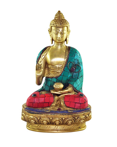 Medicine Buddha Statue with Turquoise & Coral Mosaic Detailing - Sivalya