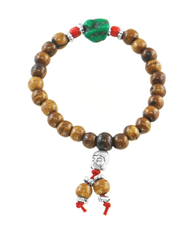 Buddhist Meditation Brown Yak Bone Beads Wrist Mala with Turquoise Counter
