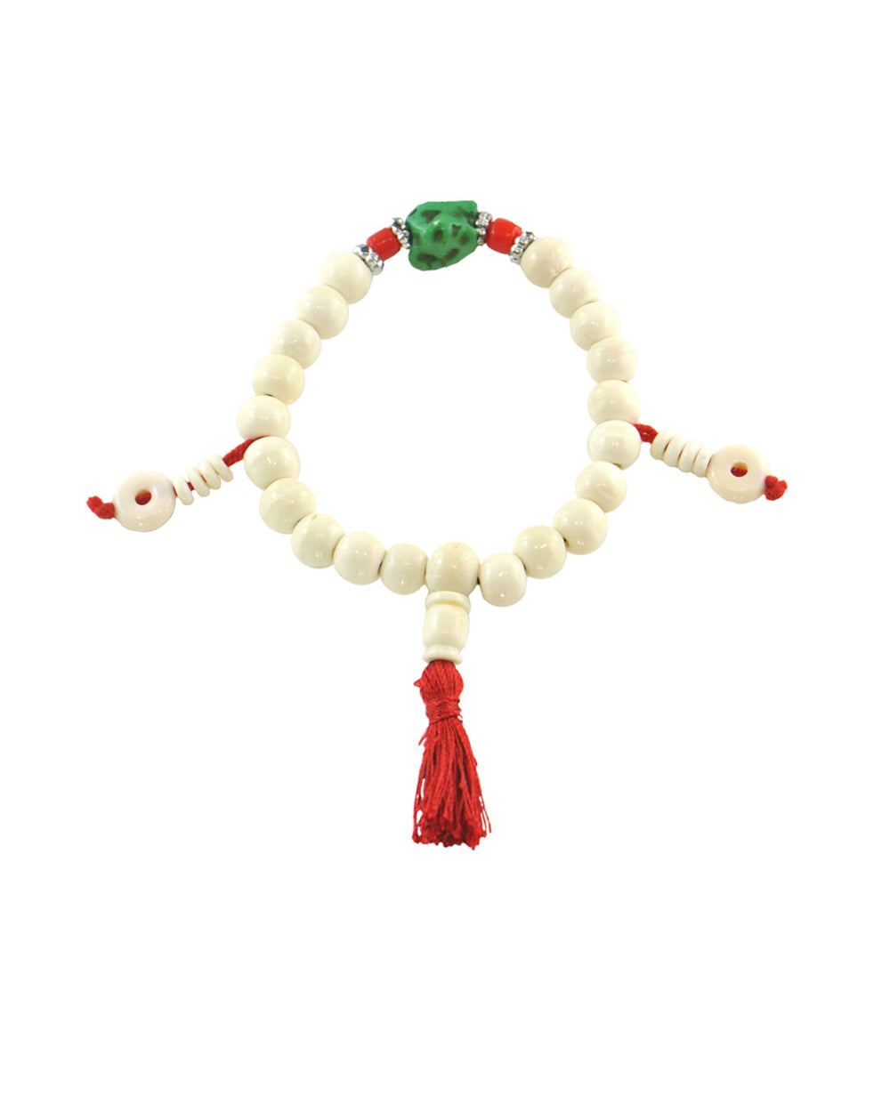 Buddhist Meditation White Yak Bone Beads Wrist Mala