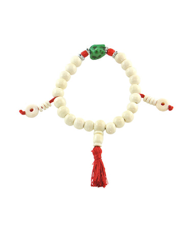Buddhist Meditation Mala 21 Beads Yak Bone with Turquoise Counter Beads