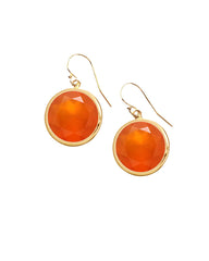 Carnelian Round Gem Drop Earrings