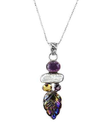 Carved Rainbow Aura Druzy and Multi-Gem Sterling Silver Necklace