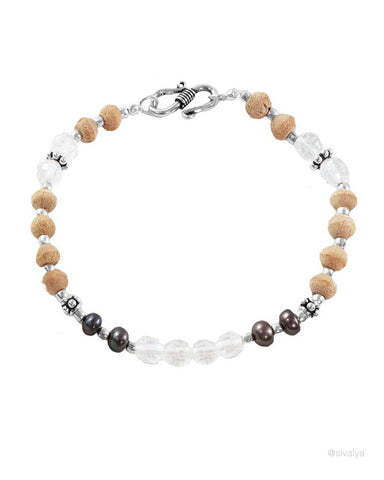 Celestial Tulsi and Crystal Wrist Mala Sterling Silver