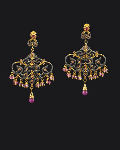 Diamonds and Ruby Briolettes Chandelier Earrings