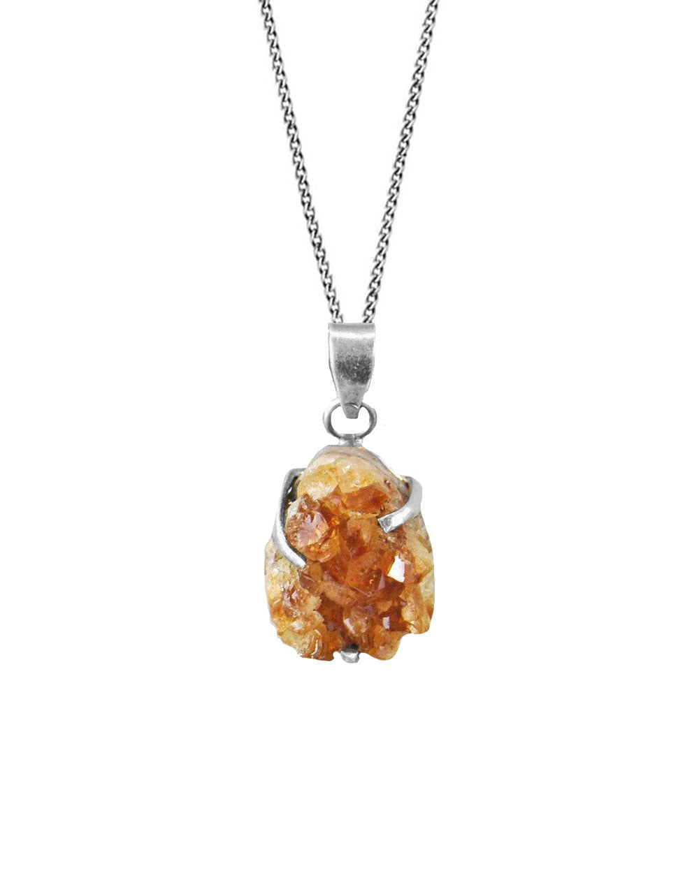 Citrine Crystal Geode Pendant Necklace Sterling Silver