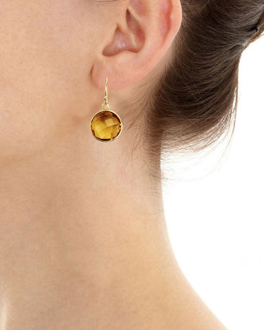 Citrine Round Gem Drop Earrings