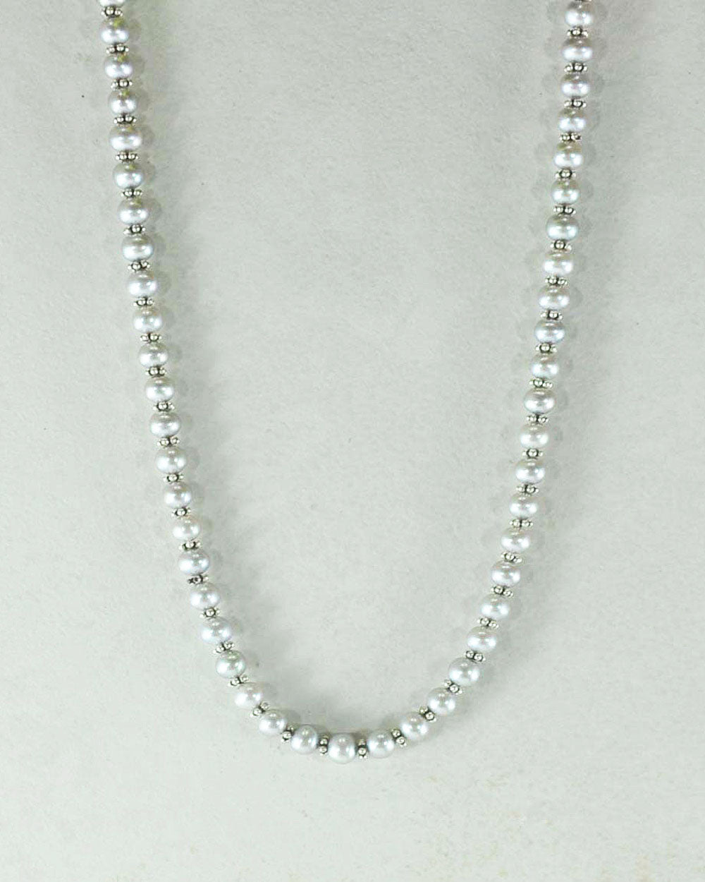 Classic Gray Pearl Strand Necklace in Sterling Silver