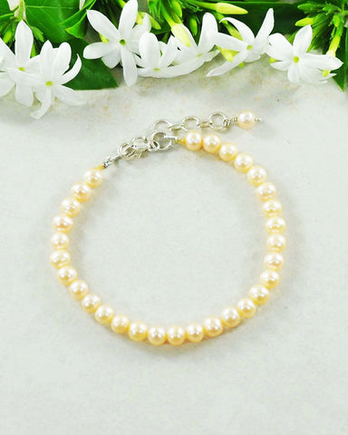Classic Peach Pearl Bracelet in Sterling Silver