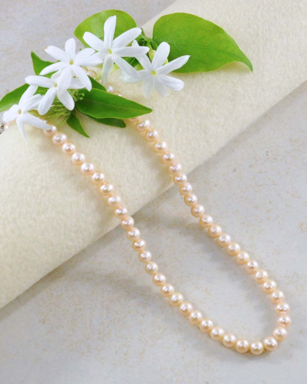 Classic Peach Pearl Strand Necklace in Sterling Silver