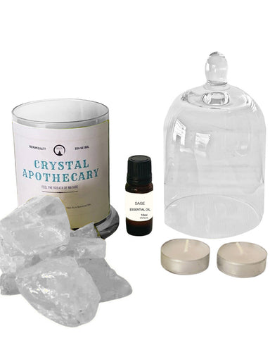 Energy Cleansing Crystal Quartz and Sage Oil Crystal Diffuser