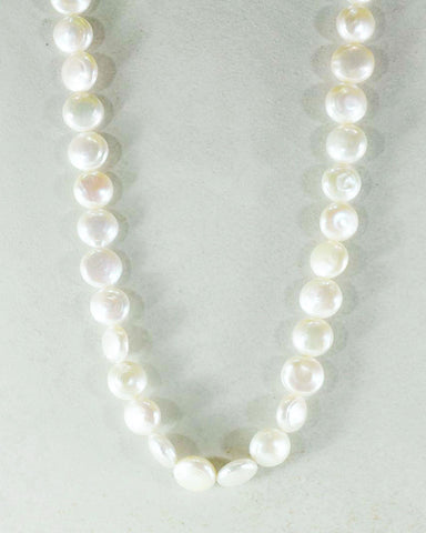 Coin Pearl Necklace in Sterling Silver