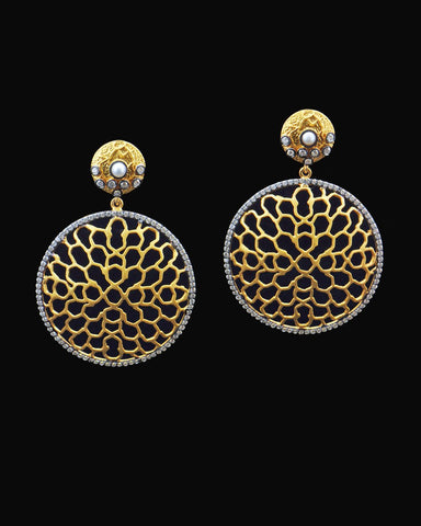 Round Honeycomb Pattern Pearl and Crystal Drop Earrings in Gold Vermeil