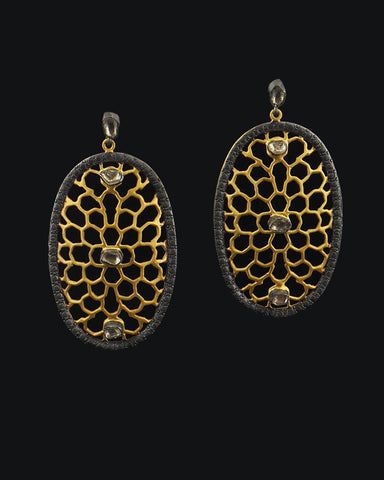 Designer Marrakesh Dreaming Diamond Earrings in Two Tone Gold Vermeil
