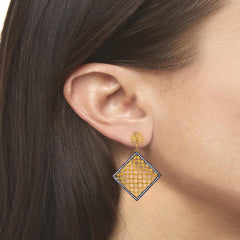 Honeycomb Crystals Drop Earrings in Gold Vermeil
