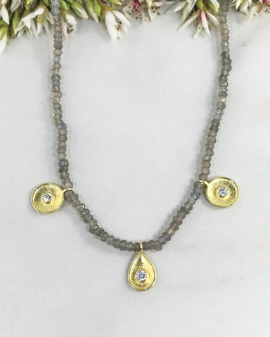 Cosmic Elements Necklace Mystic Labradorite and Gold Vermeil