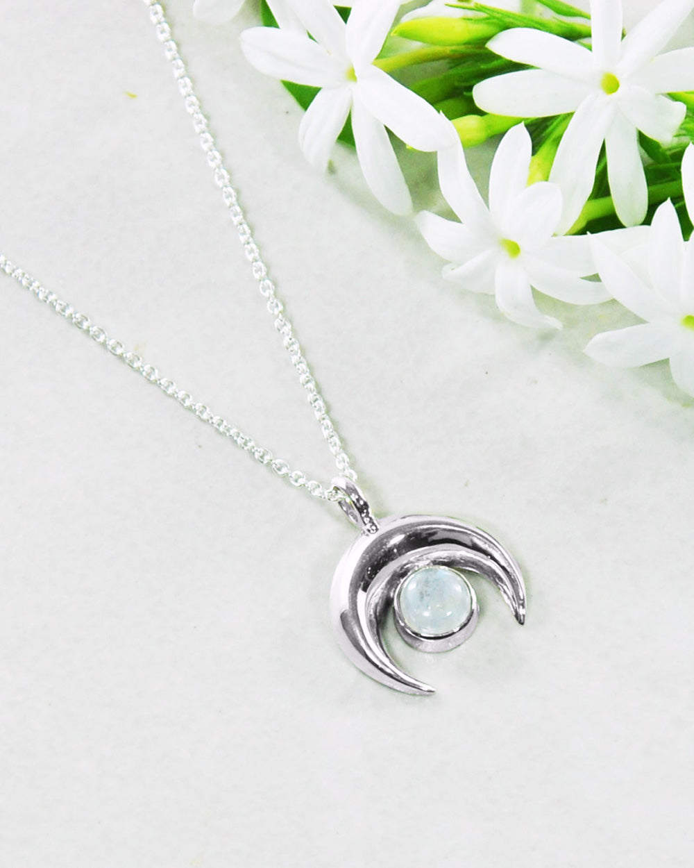 Crescent Moon Sterling Silver Necklace - Moonstone