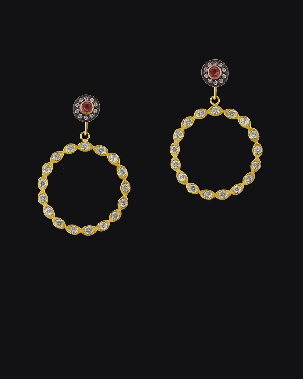 Eternity Hoop Earrings Gold Vermeil with Crystals