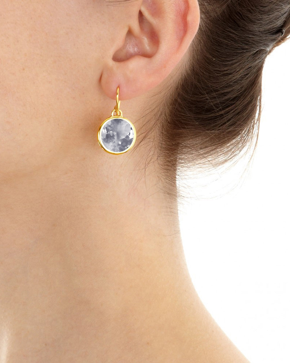Crystal Quartz Round Gem Drop Earrings