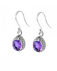 Lustrous Cushion Cut Amethyst Sterling Silver Earrings