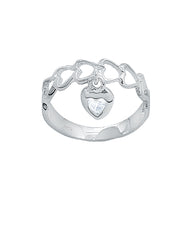 Adorable Heart Dangle Pinky Ring in Sterling Silver