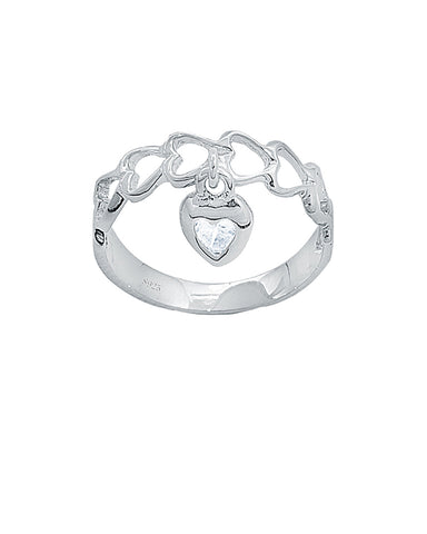 Adorable Heart Dangle Sterling Silver Ring