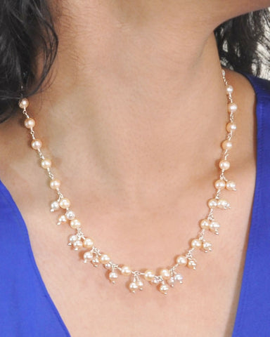 Delicate Peach Pearls Dangle Necklace