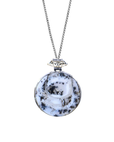Dendrite Opal Pendant Necklace in Sterling Silver
