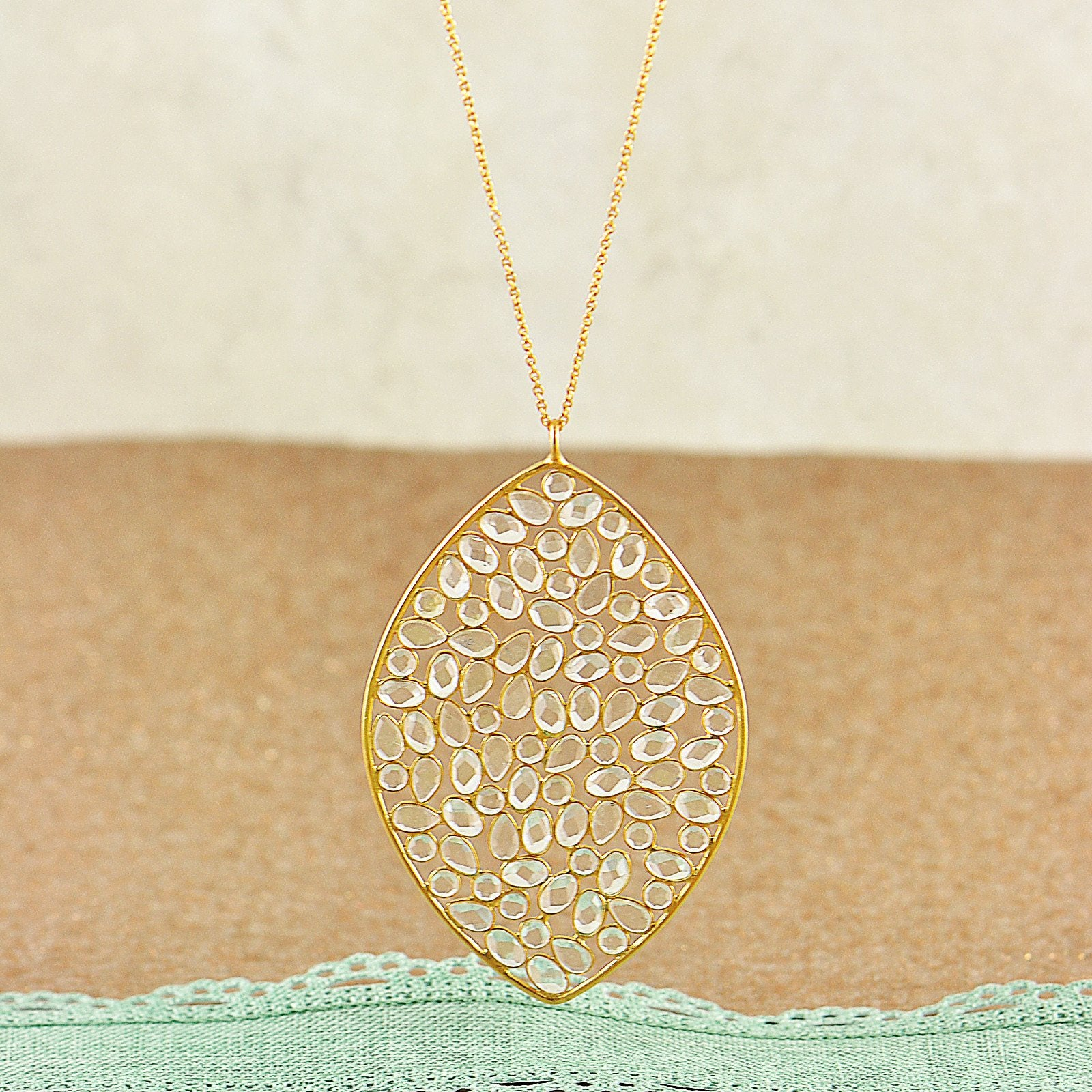 Gorgeous Handset Moonstone Pendant Necklace in Gold Vermeil