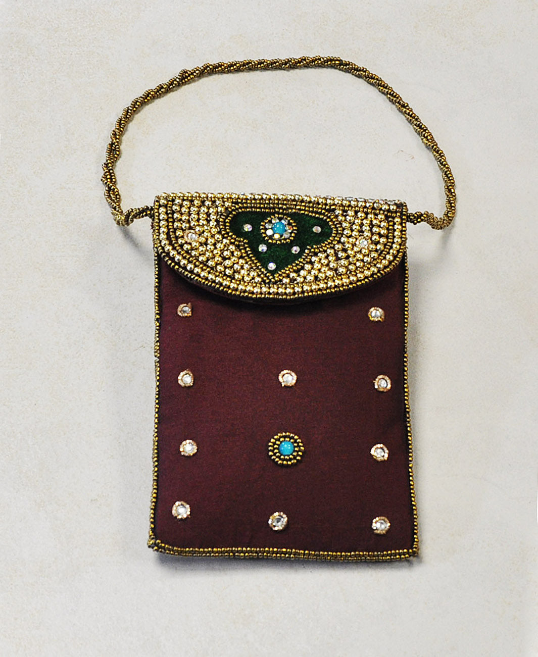 Designer Sequins and Crystals Embroidery Silk Purse Wristlet - Burgundy