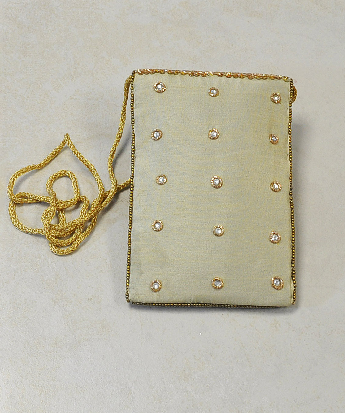 Designer Sequins and Crystals Embroidery Silk Crossbody Bag - Cream