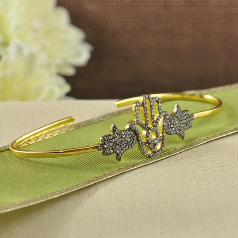 Hamsa Natural Diamonds Palm Bracelet Gold Vermeil