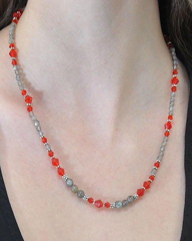 Divine Energy Red Crystals and Labradorite Necklace