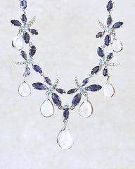 Bejeweled Dragonfly Sterling Silver Multi-gem Necklace